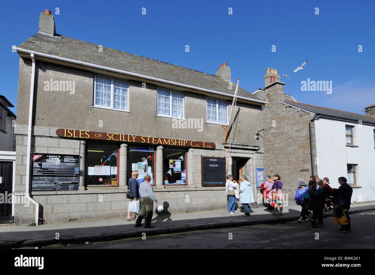 The busy tourist information centre in Hugh Town, St. Mary's,Isle of Scilly, Britain - Stock Image