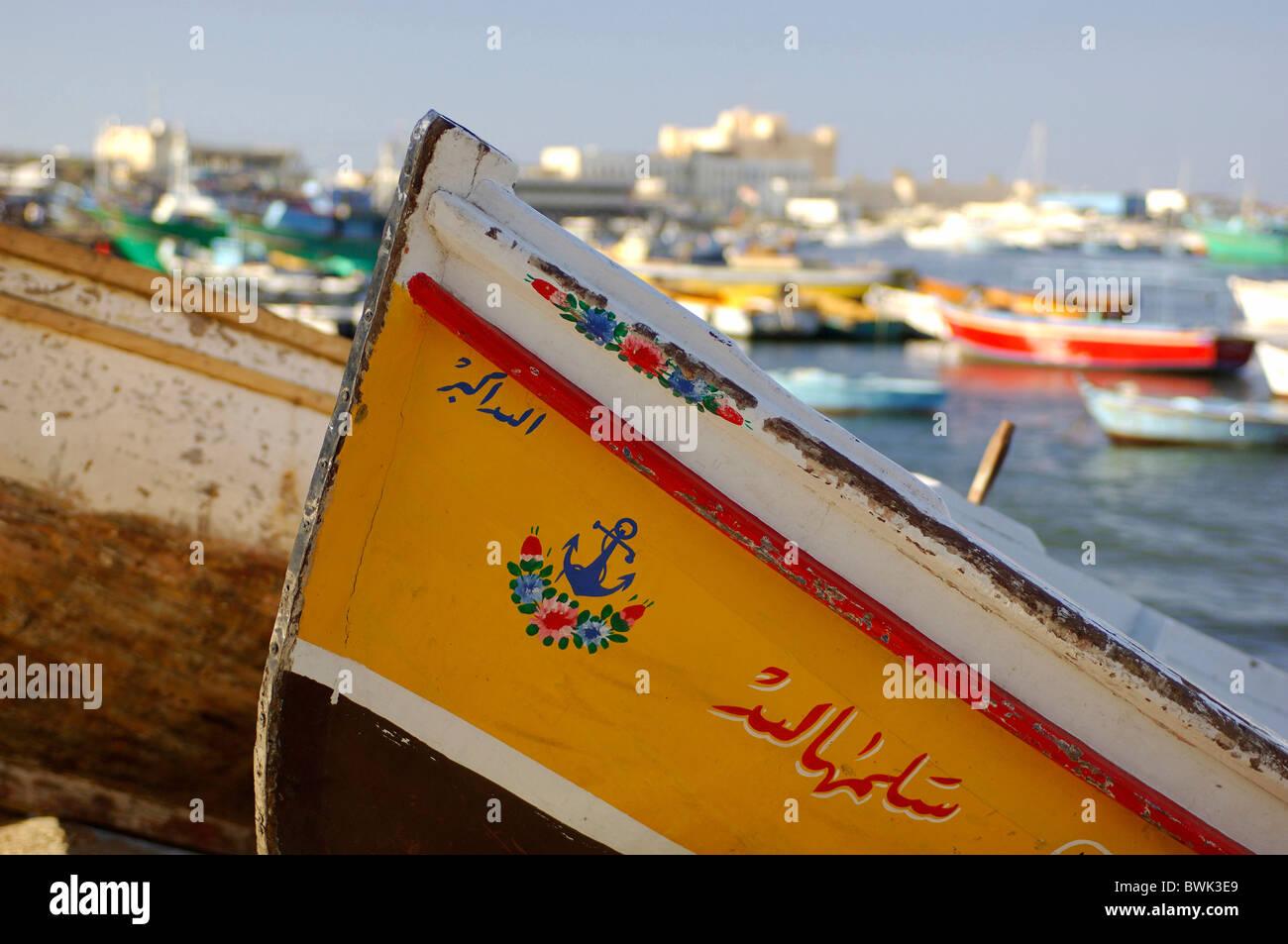 boat detail inscription lettering fishing boat harbour port Qaitbey Harbour Alexandria Egypt North Africa - Stock Image