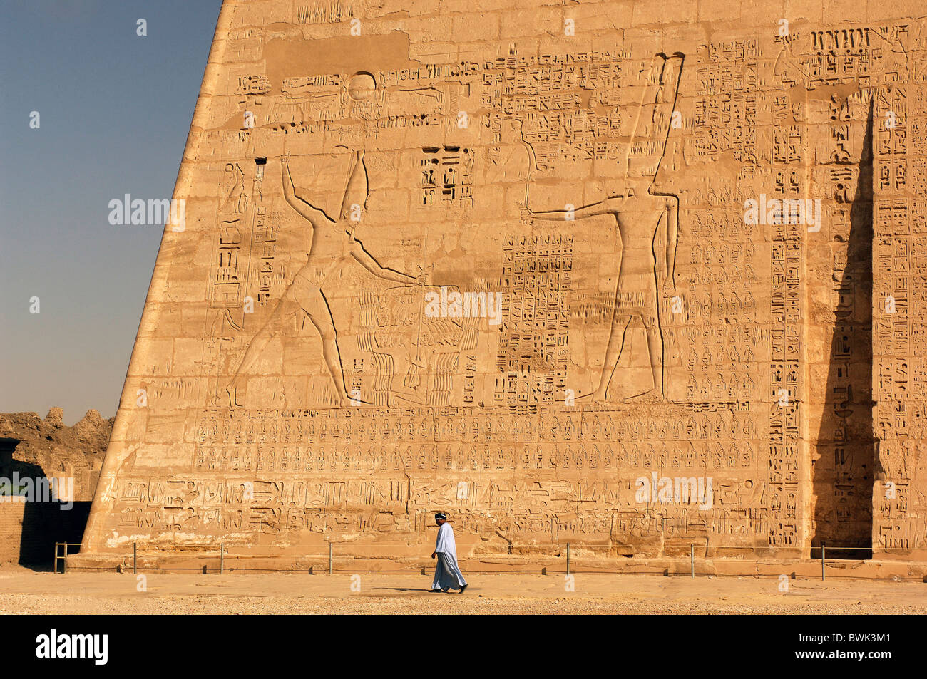 funerary temples Ramses III Medinet Habu temple Thebes west Luxor Egypt North Africa - Stock Image
