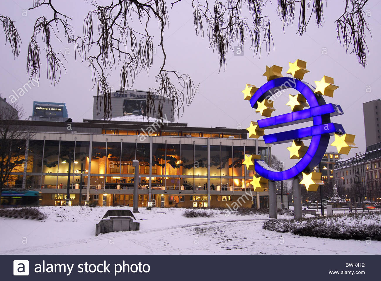 Symbol Of The Euro Currency At The European Central Bank Ecb Opera