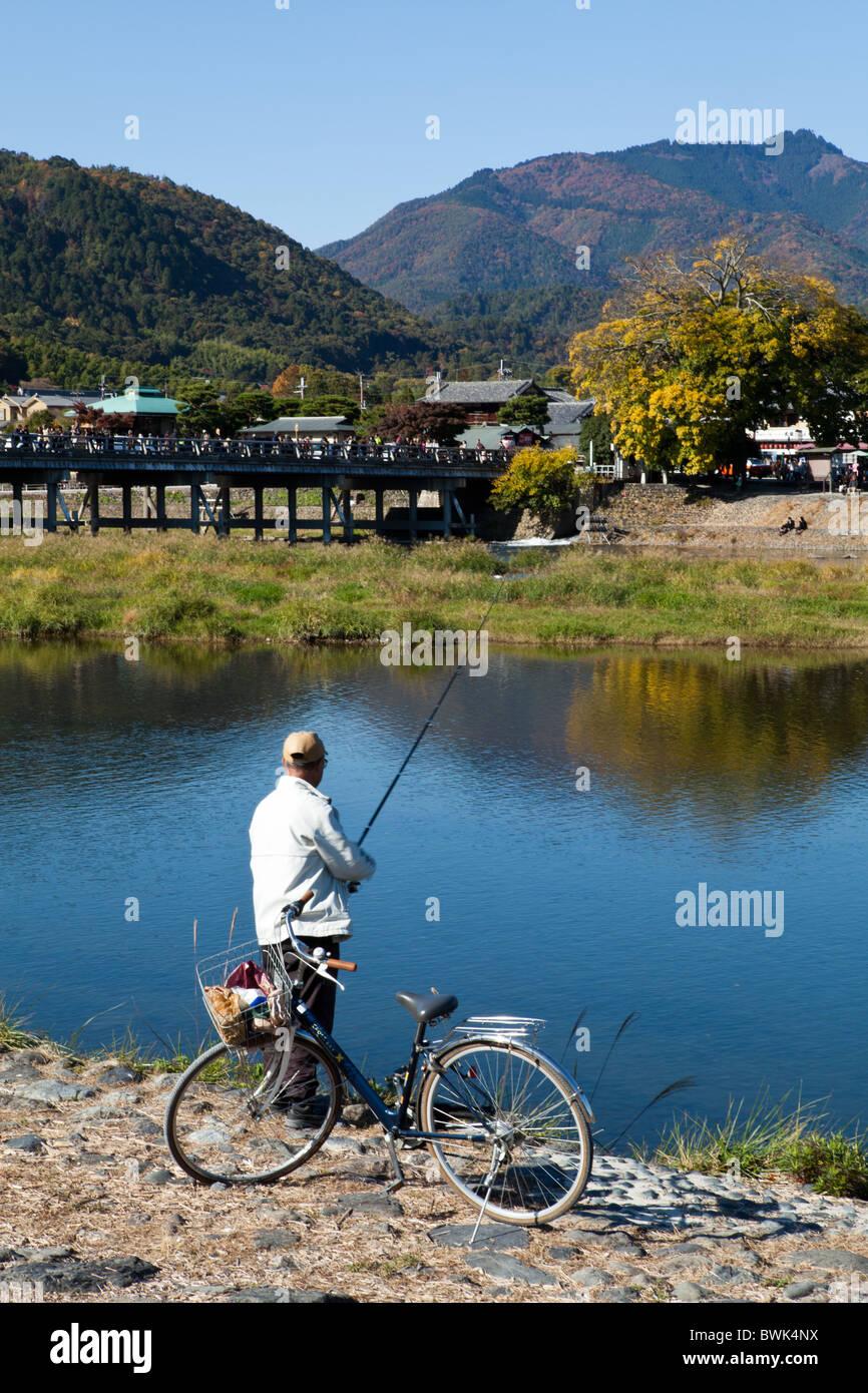 Fishing at the Hozu River in Arashiyama - Stock Image