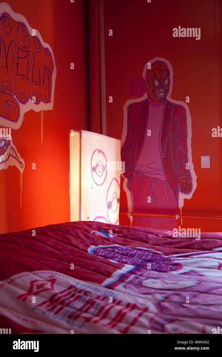 Hotel room No.308, East Side Guero Sound System, Design MASA, Hotel Fox, Copenhagen, Denmark - Stock Image