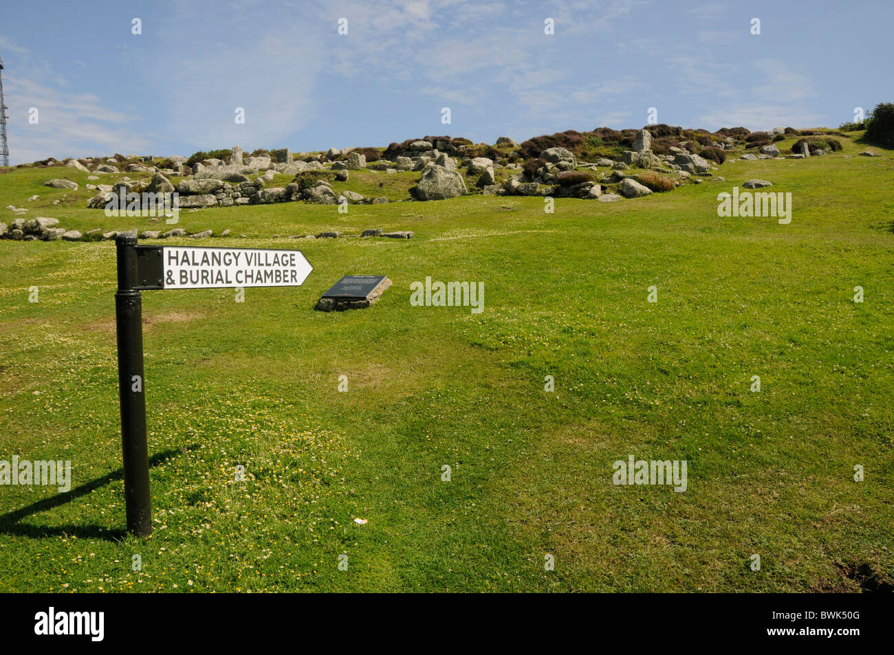 A sign at Barnt's Carp, Halnngy village and burial chambers, a Viking settlement on St.Mary's, Isles of Scilly, - Stock Image