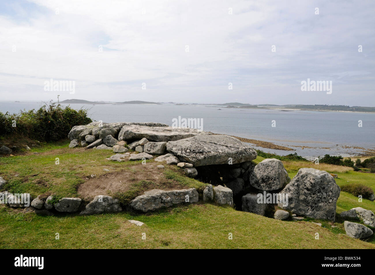 Barnt's Carn Burial Chamber and ancient Viking village on St.Mary's, Isles of Scilly, Britain - Stock Image