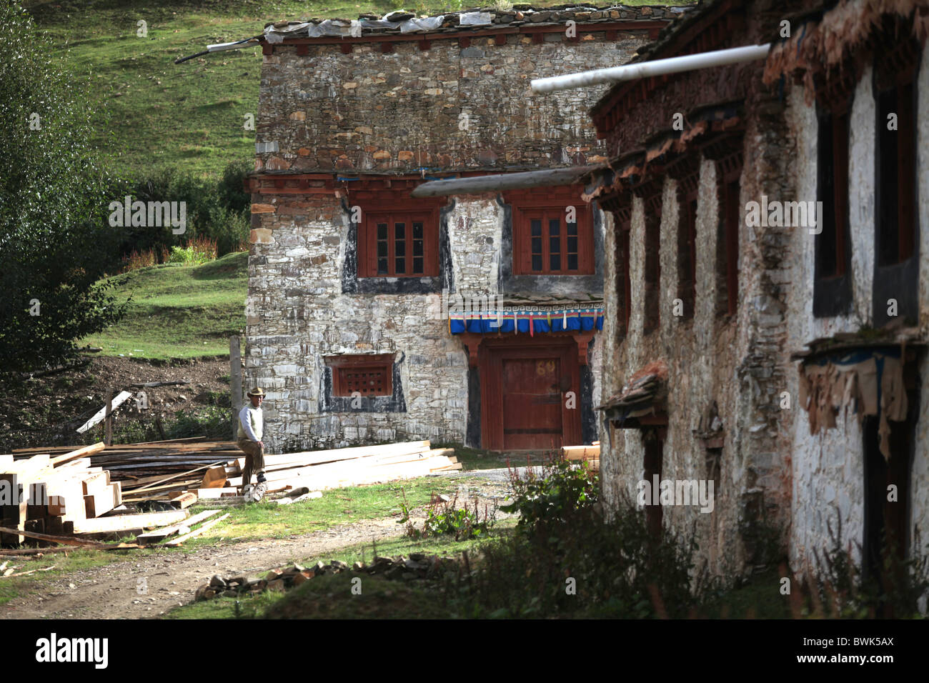 A local man int he village around Litang, Sichuan province, southwest China - Stock Image
