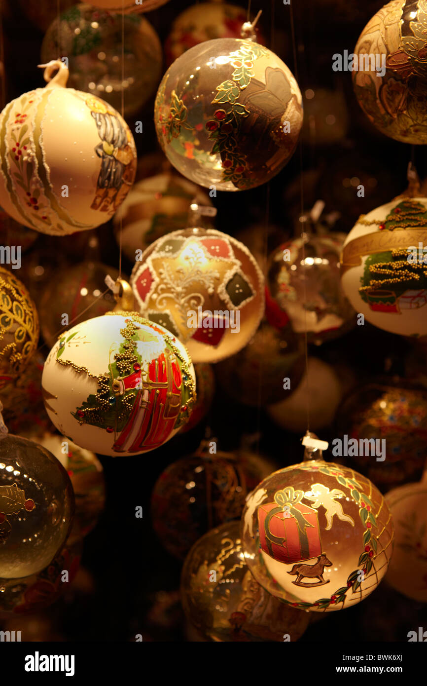 painted Christmas bauble decorations - Stock Image