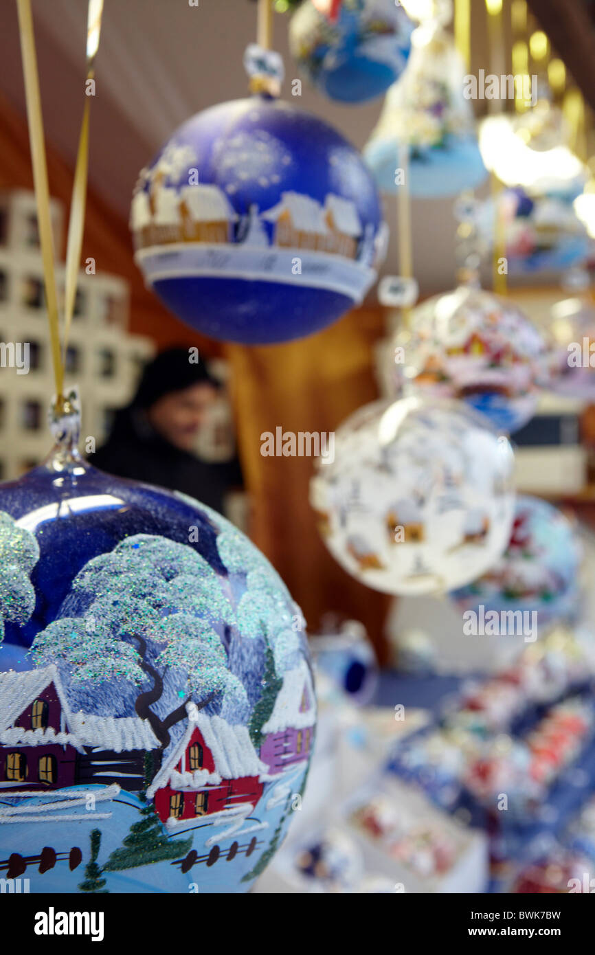 painted glass christmas bauble decorations stock image