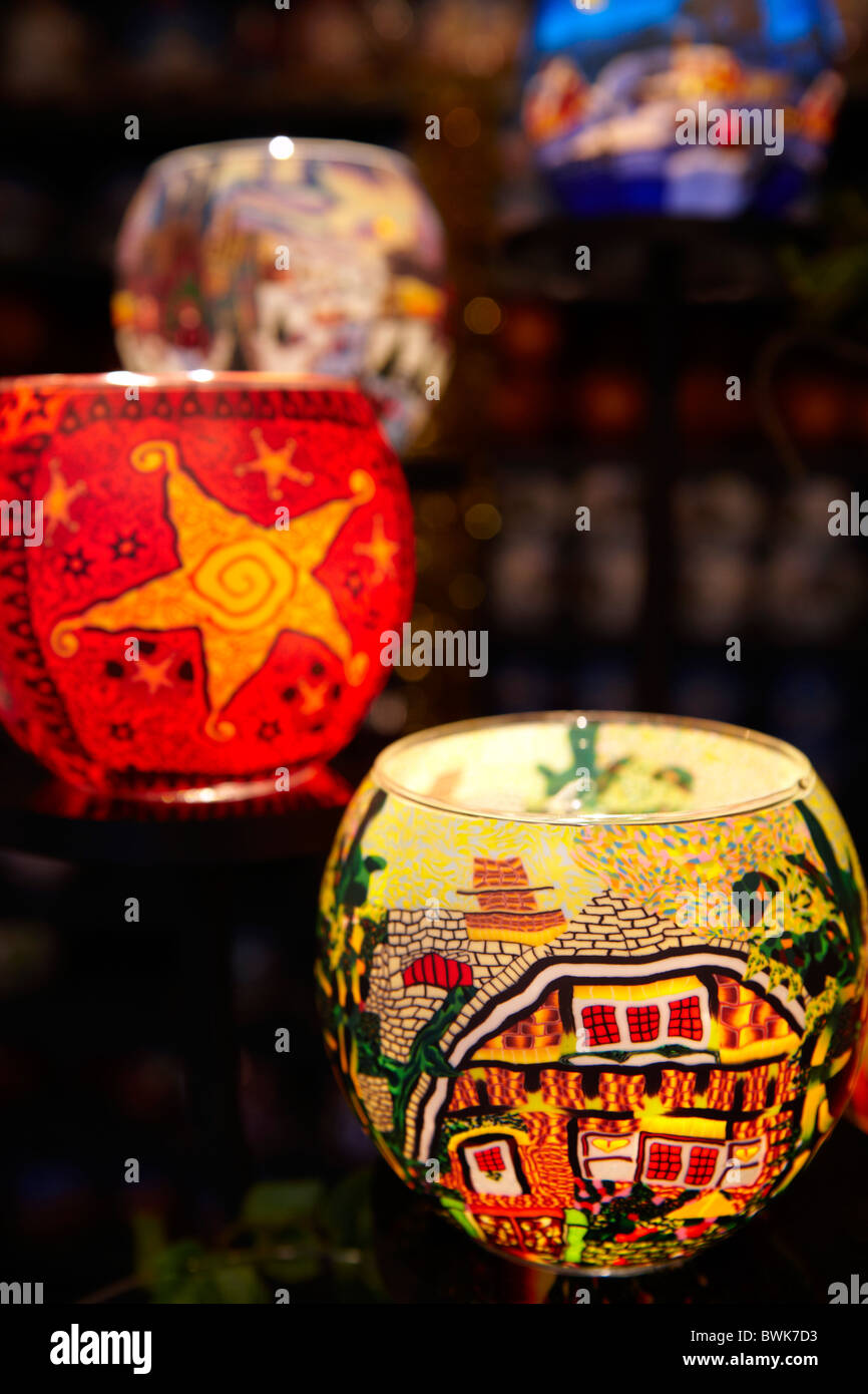 Christmas decorated glass candle holders - Stock Image