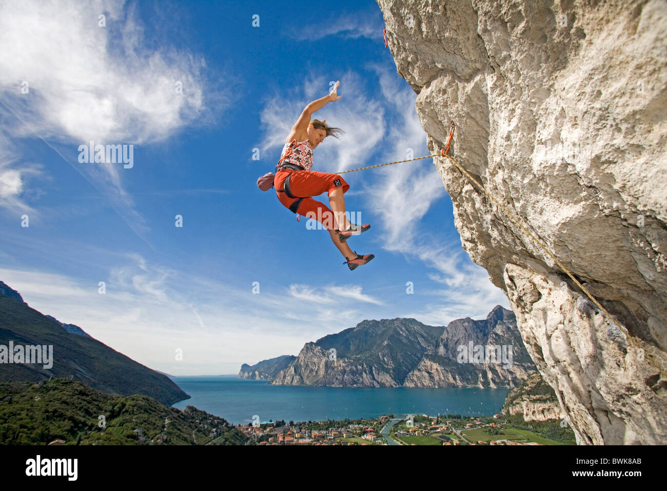 woman falling fall protection roping rope cliff wall rock ...