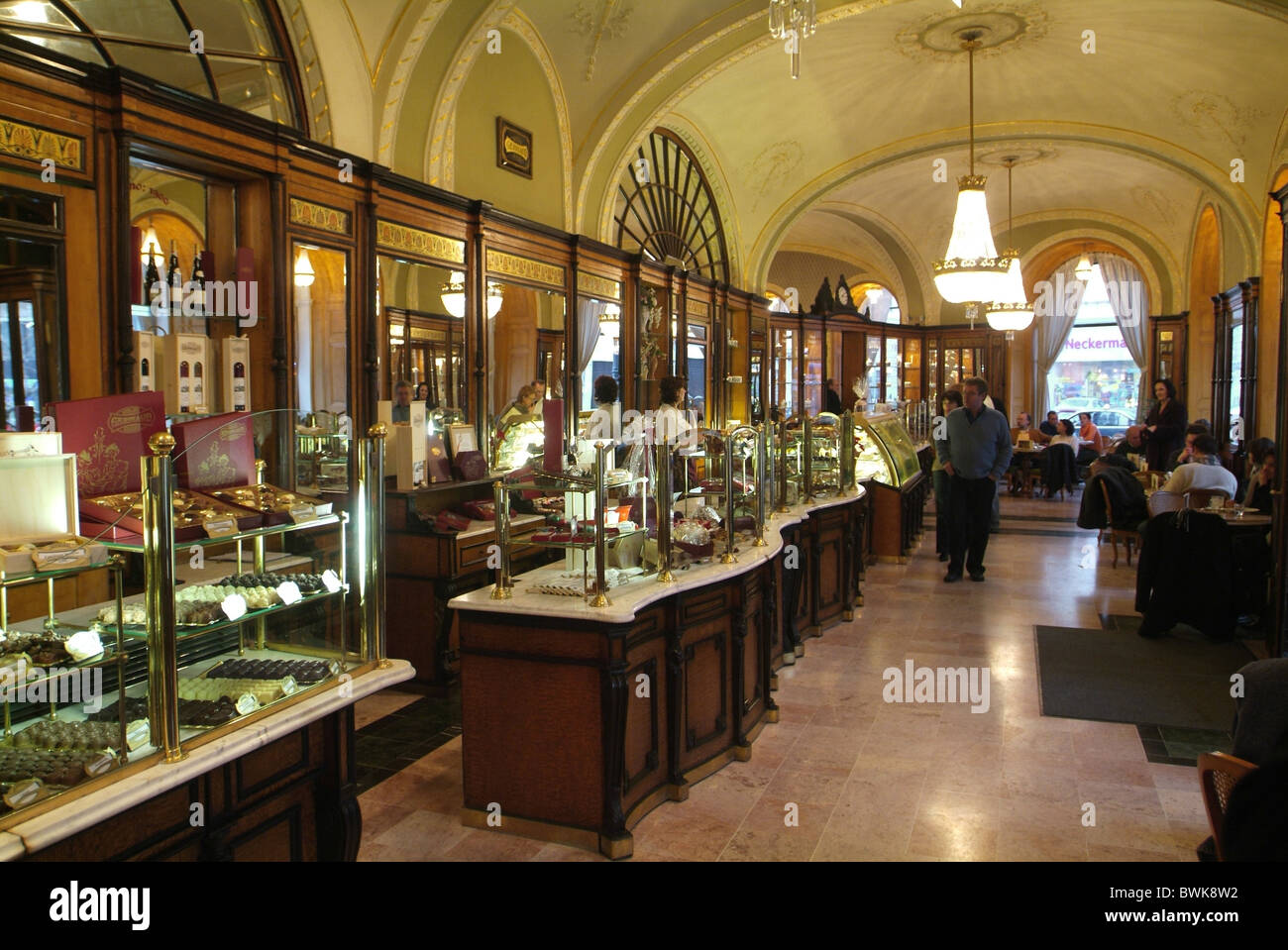 Hungary Budapest cafe Gerbeaud inside guests catering confectionery - Stock Image