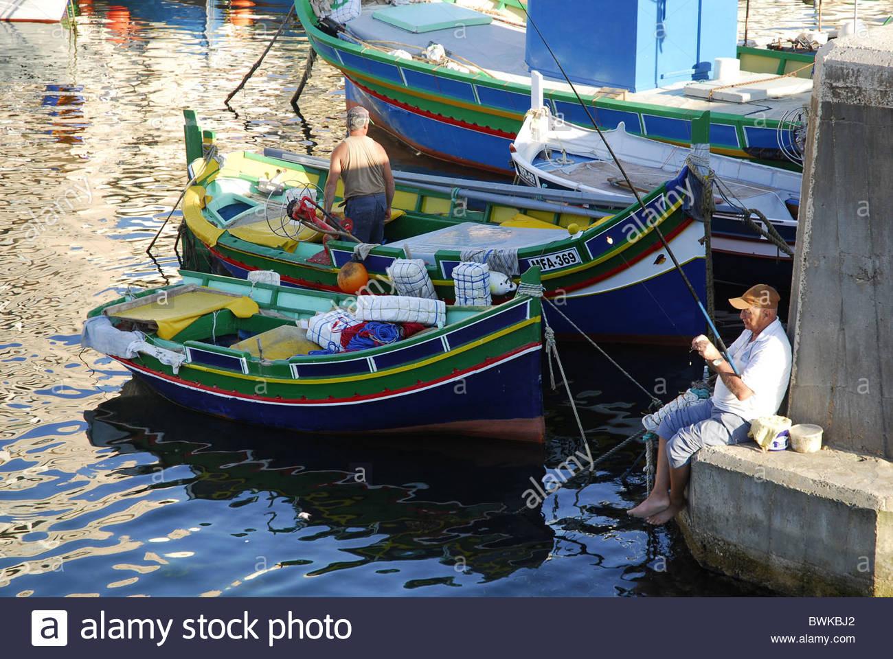 Fishing boats in the harbour, Marsalforn Bay, Marsalforn, Gozo Island, Malta, Mediterranean, Europe Stock Photo