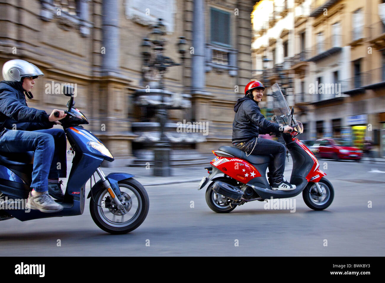Scooters in the street, Palermo, Sicily, Italy - Stock Image