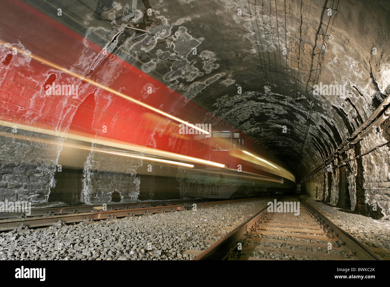 Simplon Brig traveling transport Inside Simplontunnel tunnel canton Valais Switzerland Europe Iselle Italy - Stock Image