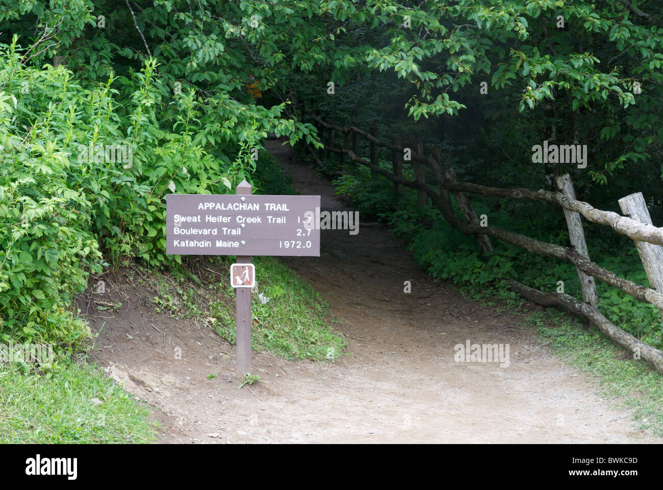 Appalachian trail and sign in Smoky Mountain National Park. Newfound Gap, close to Gatlinburg Tennessee, USA - Stock Image
