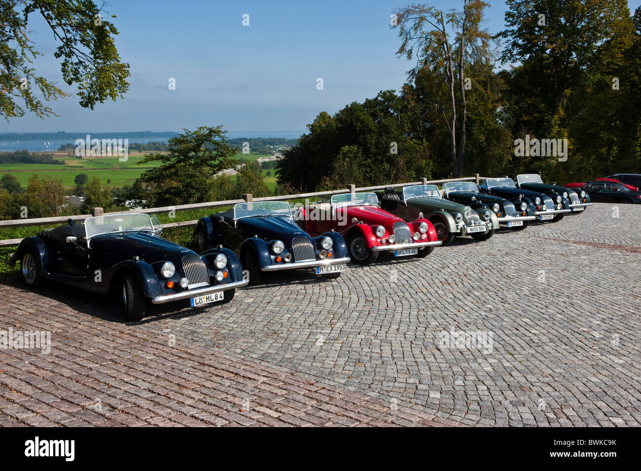 Several Morgan Plus 8 vintage sports cars - Stock Image