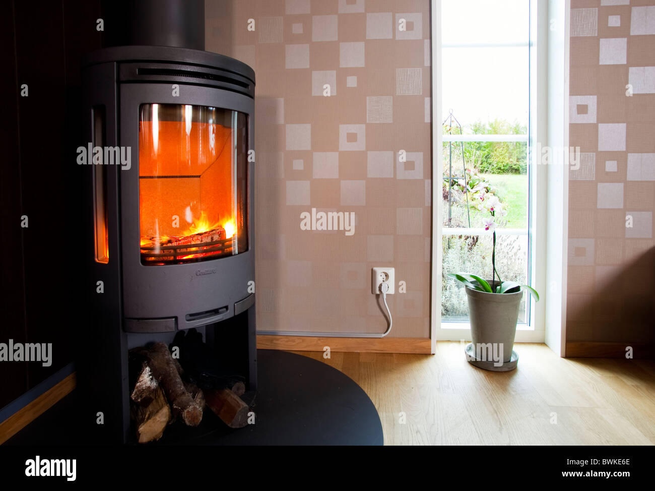 Fireplace in the livingroom,Sweden - Stock Image