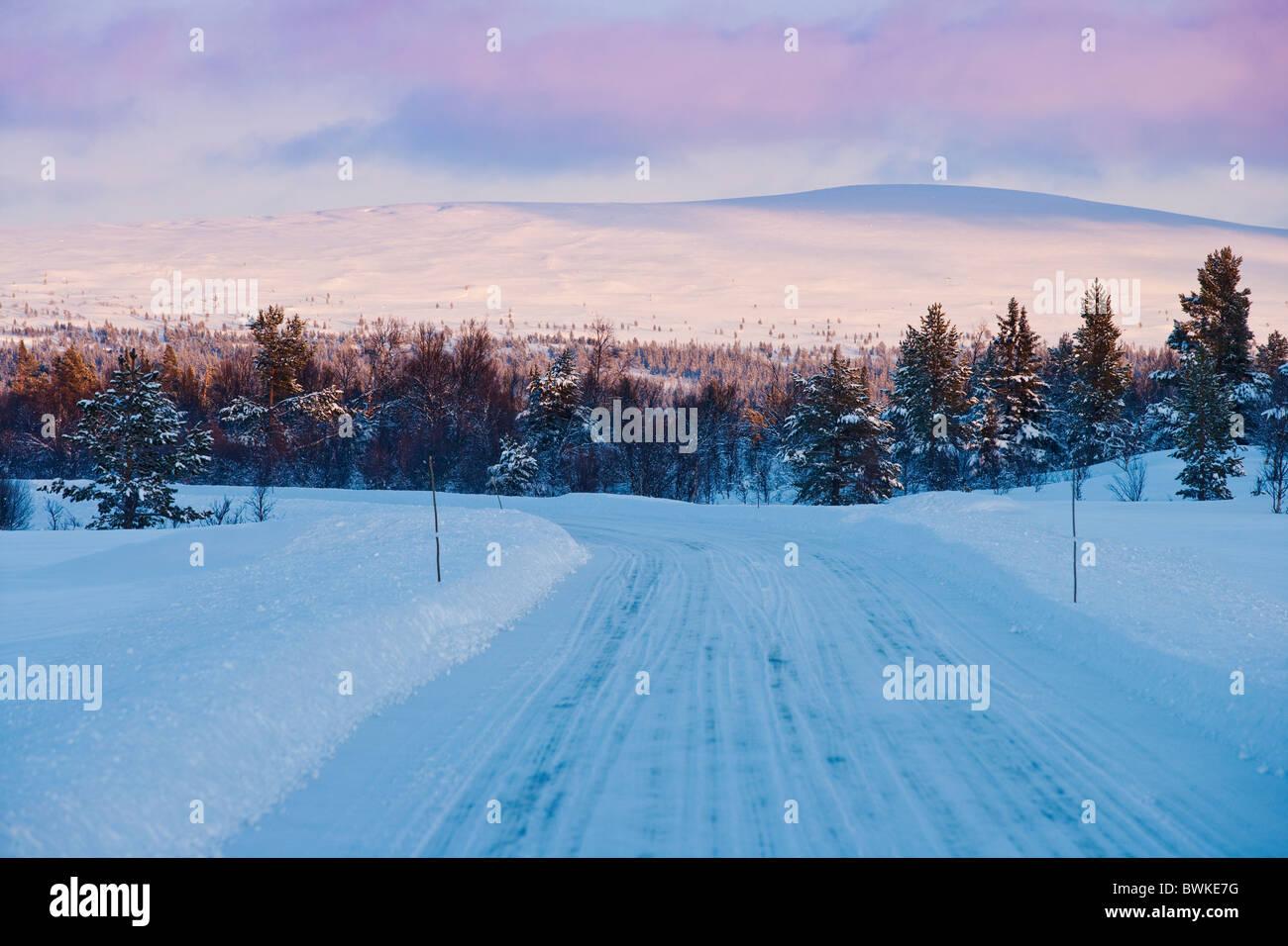 Winter-road.Grovelsjoen,Sweden - Stock Image