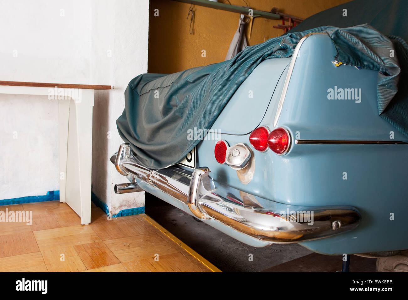 Old car in the garage.Eskilstuna,Sweden - Stock Image