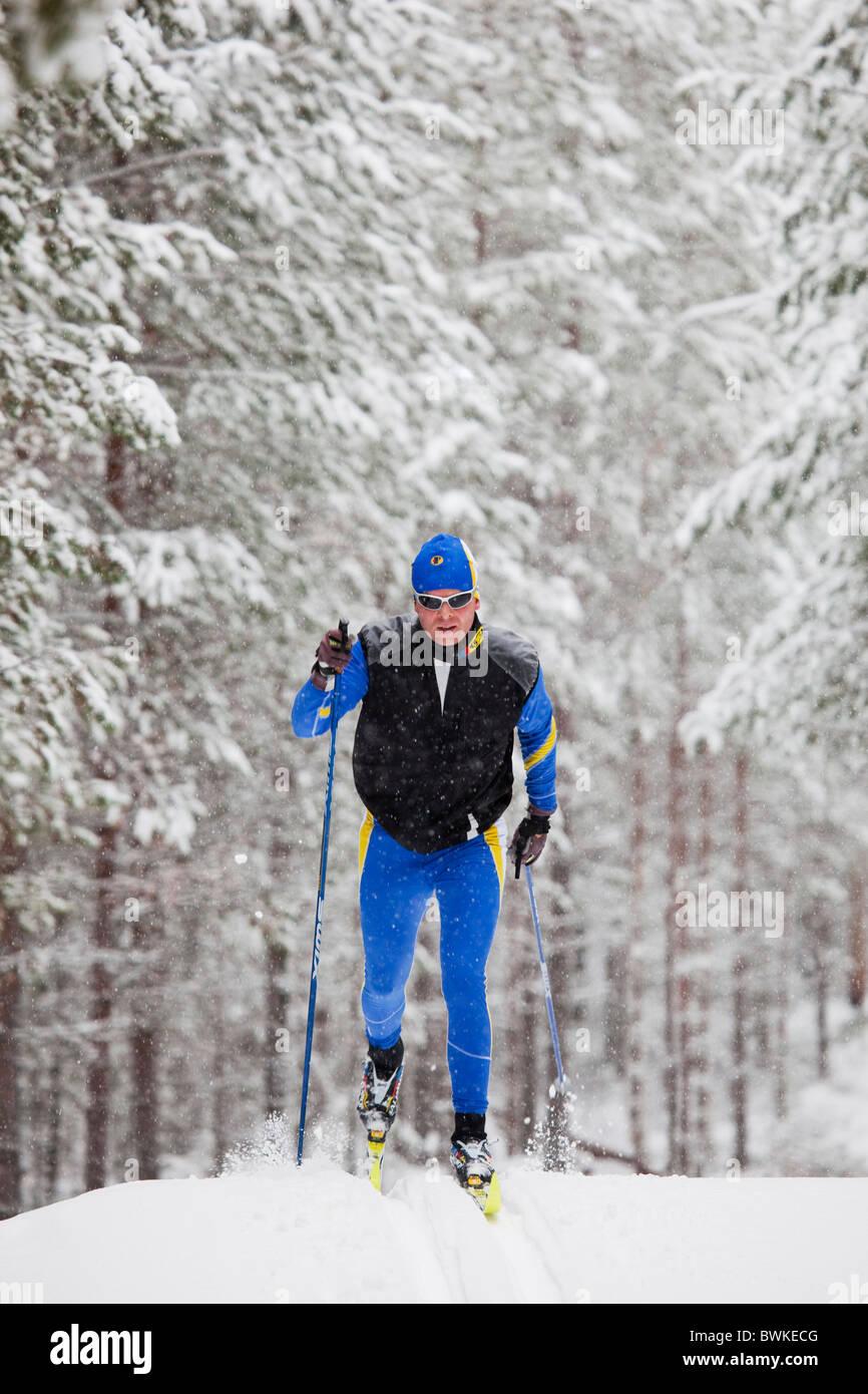 Skier coming fast up from a hill.Alvdalen(Älvdalen)Dalarna,Sweden - Stock Image