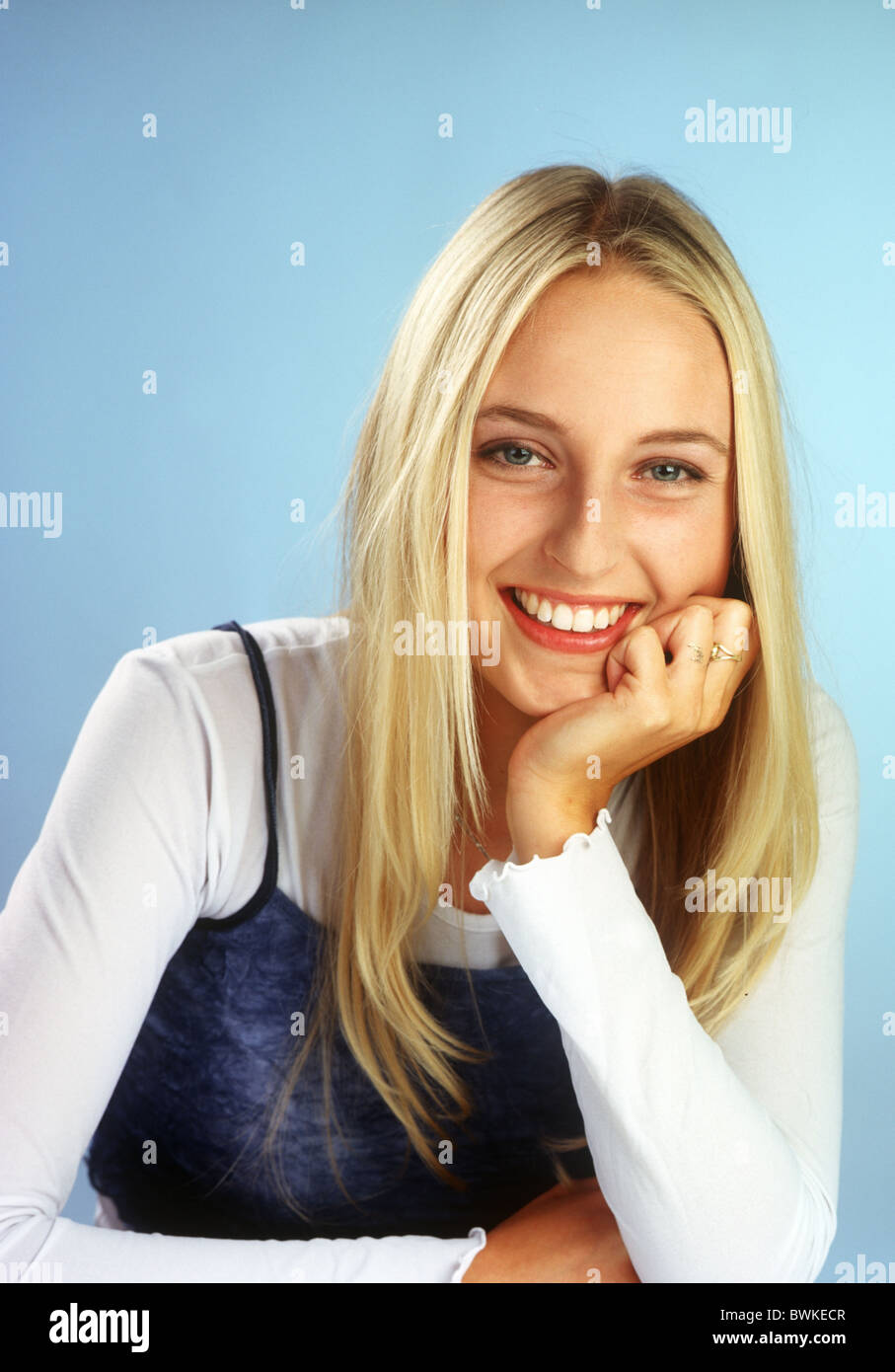 Portrait young woman look at camera - Stock Image