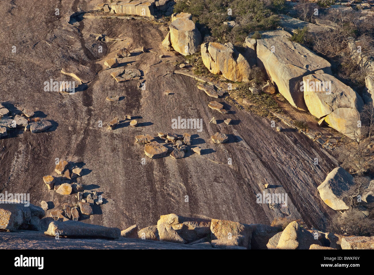 Exfoliated granite layers at Little Rock at Enchanted Rock State Natural Area in Hill Country near Fredericksburg, - Stock Image