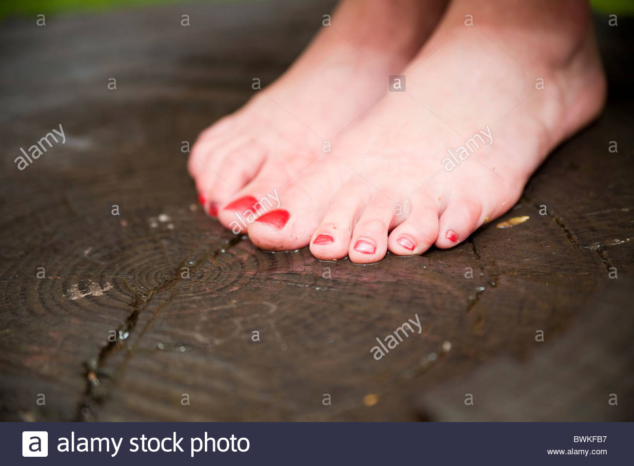 Woman barefoot - Stock Image