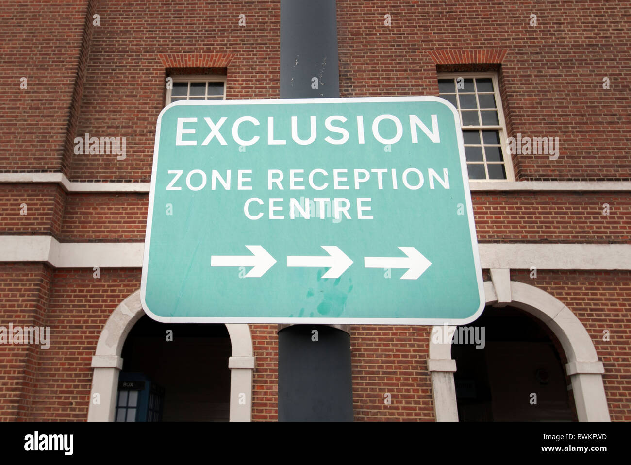 exclusion zone sign - Stock Image