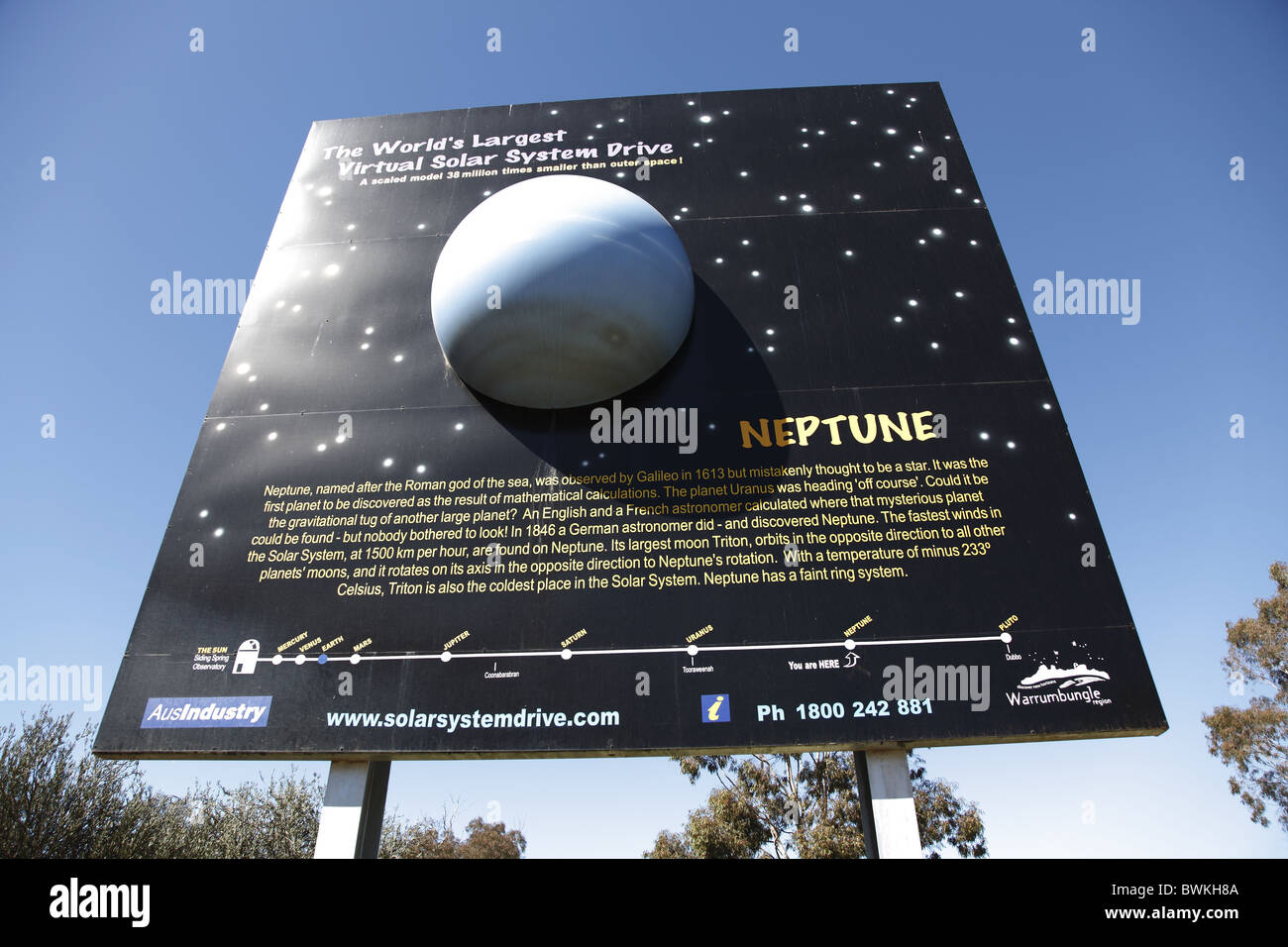Australia, New South Wales, Coonabarabran, Virtual Solar System, Model of the Planet Neptune - Stock Image