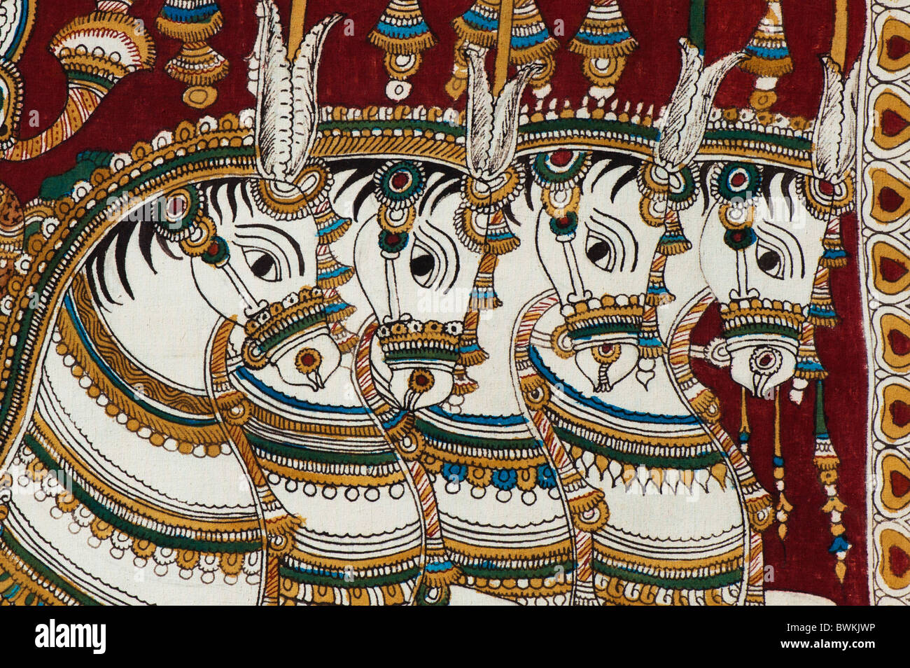 Traditional Indian Hindu Painting Of Four Horses India Stock Photo Alamy
