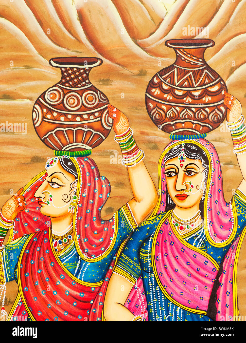 Traditional Indian painting of an Indian woman Gopi carrying a pot - Stock Image