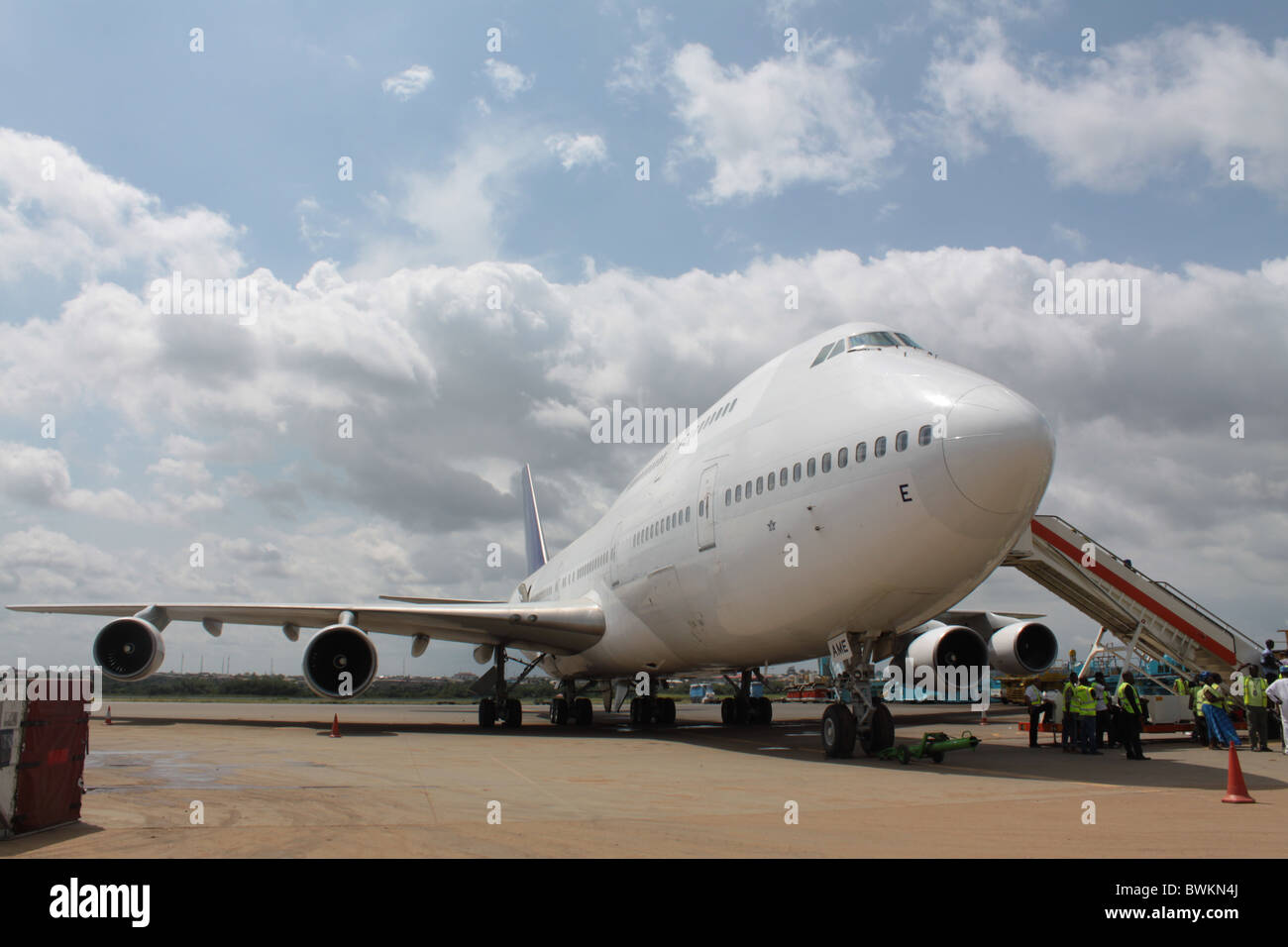 A parked Boeing plane (747) type at the Murtala Muhammed International Airport, Lagos at the cargo sector. - Stock Image