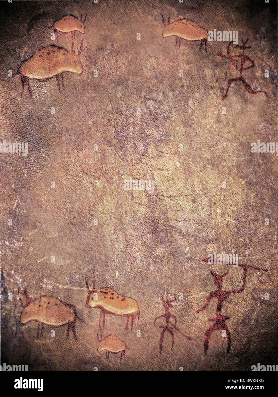 prehistoric paint with hunters and animals - Stock Image