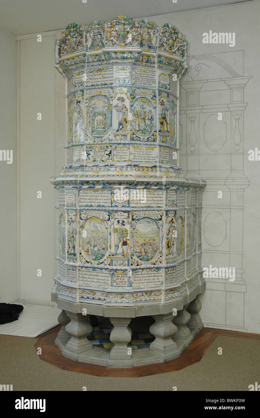 dismantling Winterthurer stove oven Swiss state museum museum Hafner Fredi Mathys tiled stove David Pfau Hans - Stock Image