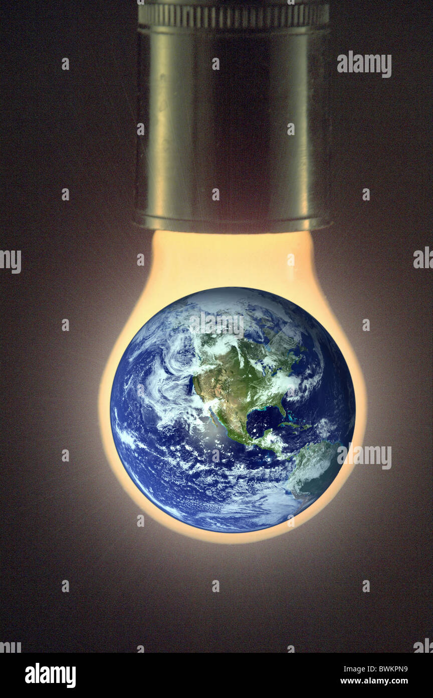 environment problem global warming climate climate warming climate change symbol earth globe globe gas burne - Stock Image