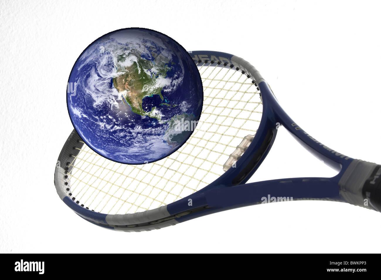 environment problem symbol earth globe globe draft plan ball tennis-ball carelessness match ball person h - Stock Image