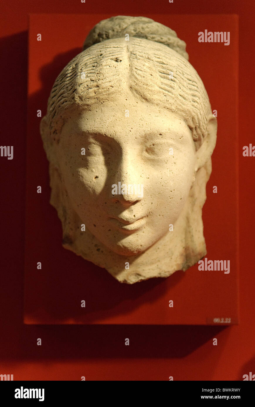 Mask of a woman with an austere hairstyle, Roman Period, A.D. 2nd century, perhaps about 140 A.D., Egypt, - Stock Image