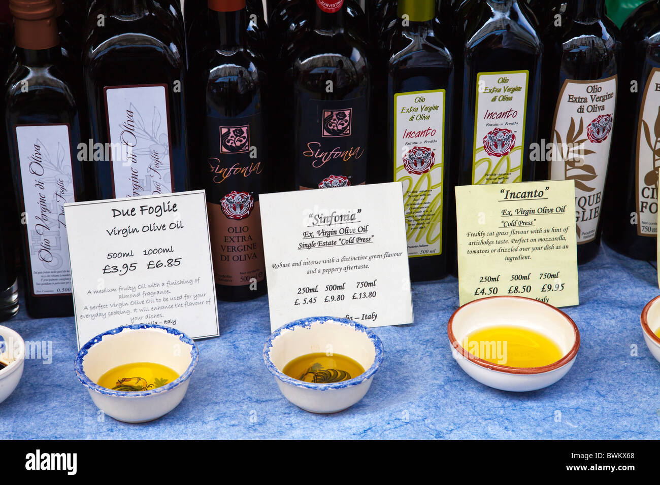 Olive oil selection at Portobello Road market - Stock Image