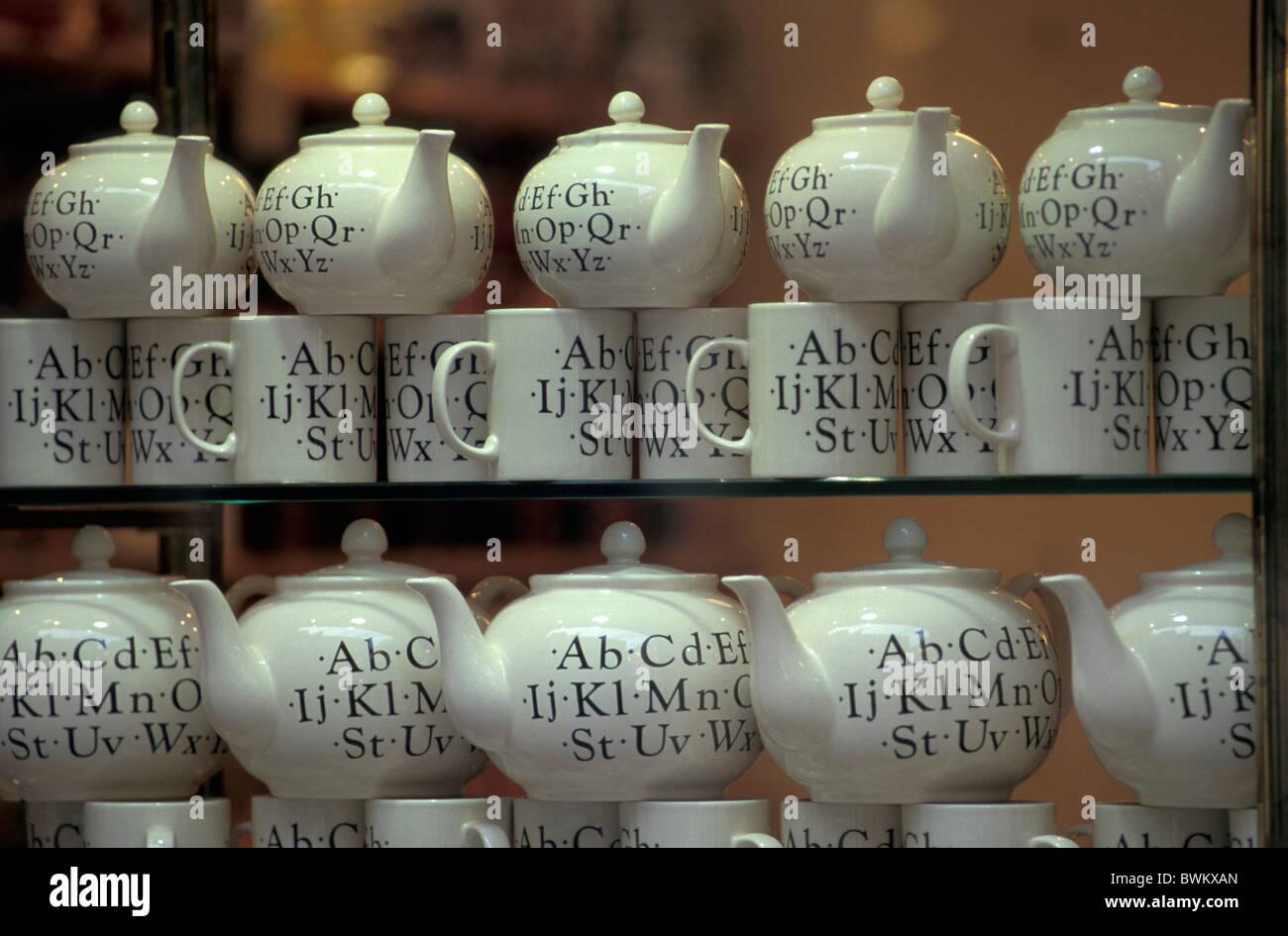 UK London Shop window Whittard Tea's Carnaby Street Mayfair Great Britain Europe England ceramics pots mugs - Stock Image
