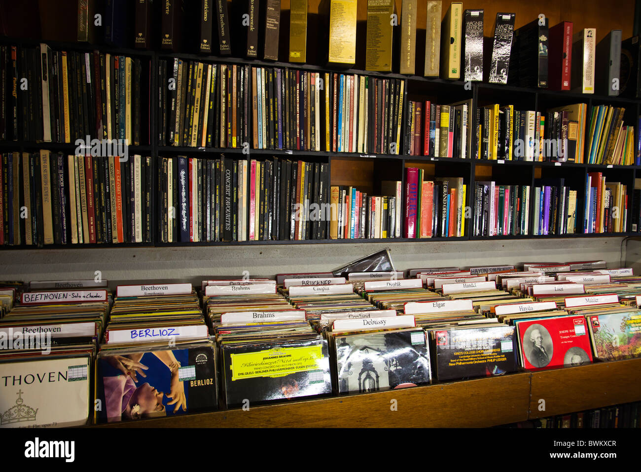 Records shop classical music cd shop interior with Lps - Stock Image