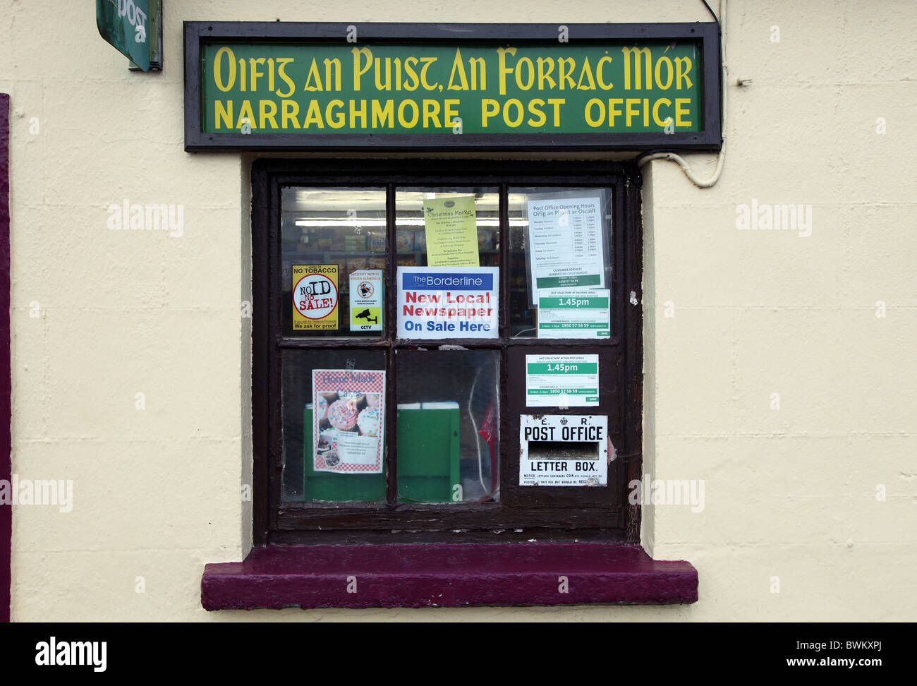 Narraghmore Post Office, Co. Kildare, Ireland - Stock Image