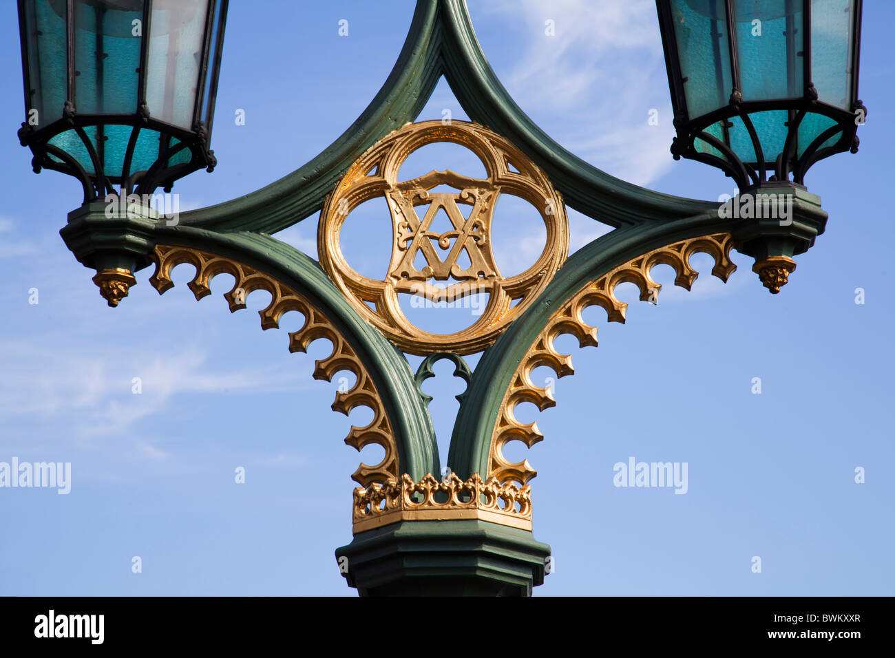 Royal Emblem on lampost at Westminster - Stock Image