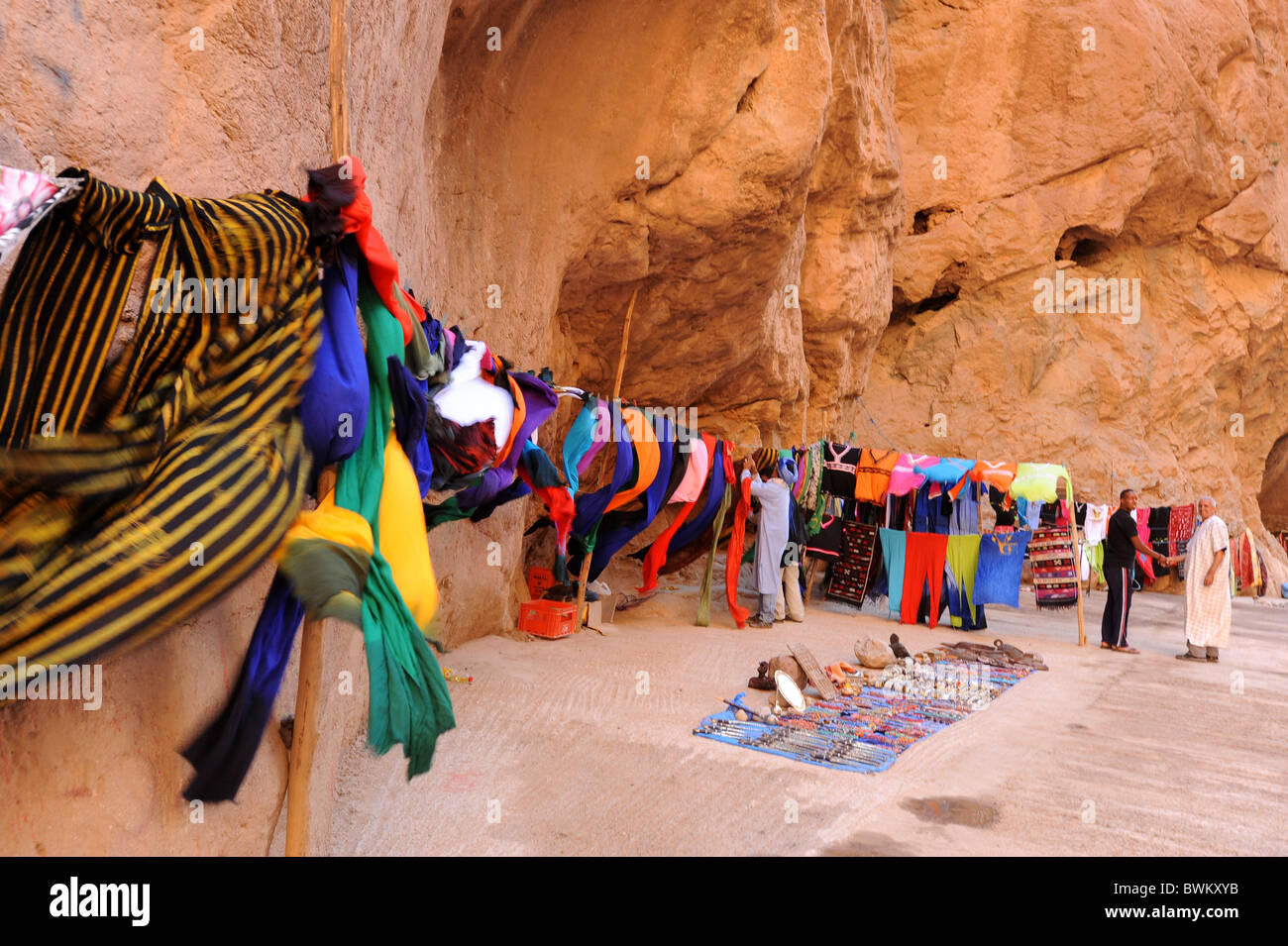 Brightly colored scarves for sale in the Todra Gorge, Southern Morocco. Stock Photo