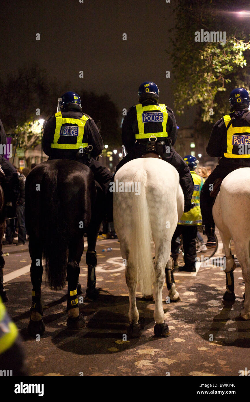 LONDON, ENGLAND - Student Demonstration in Whitehall, Mounted Police - Stock Image