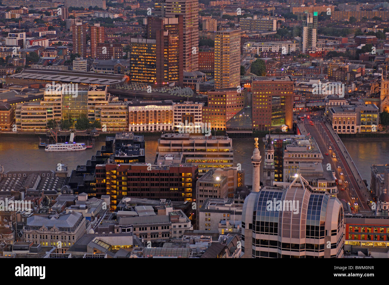 UK London View from Vertigo 42 City Great Britain Europe England town at night dusk evening roofs River T - Stock Image