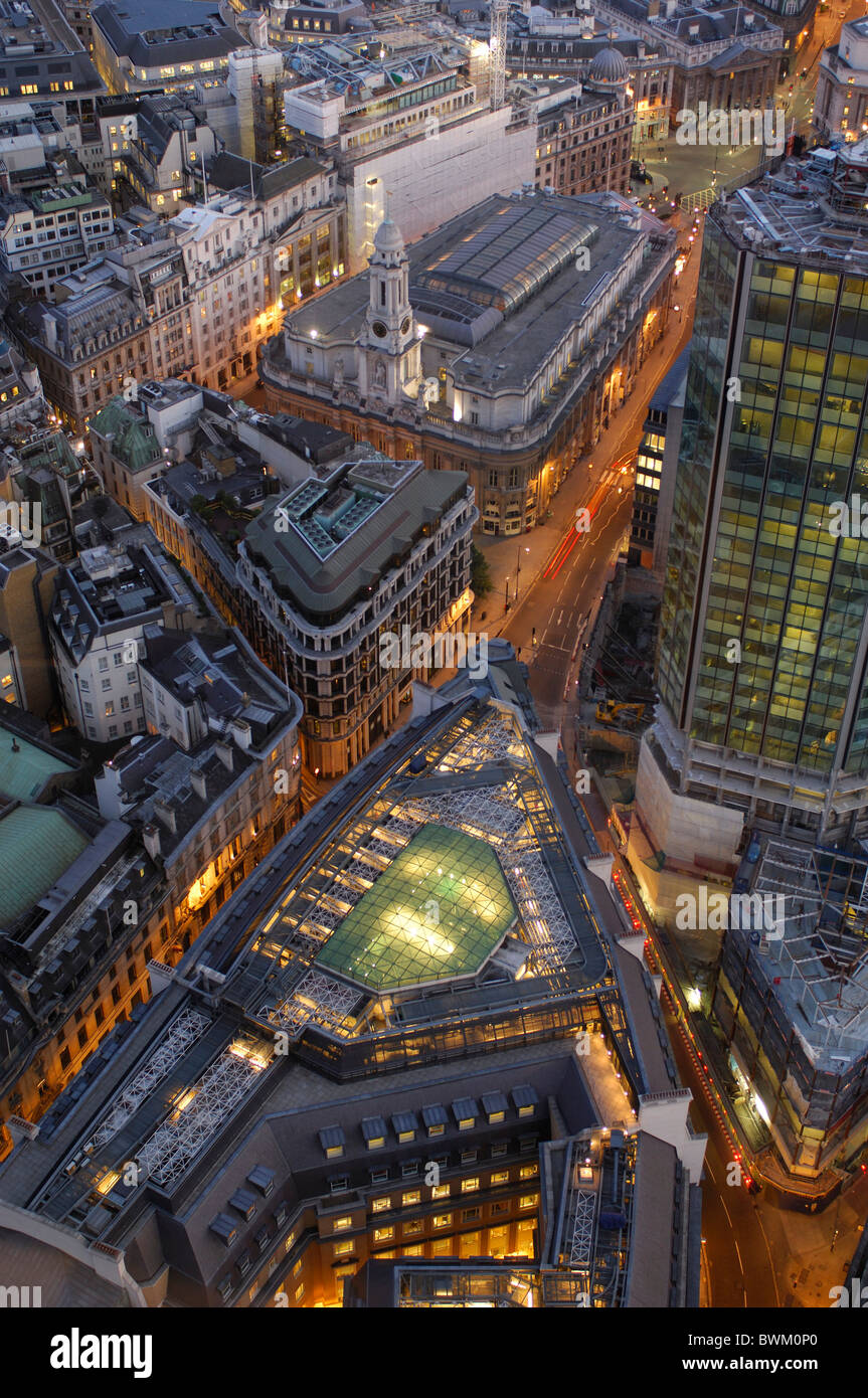 UK London View from Vertigo 42 City Great Britain Europe England town at night dusk evening roofs overvie - Stock Image