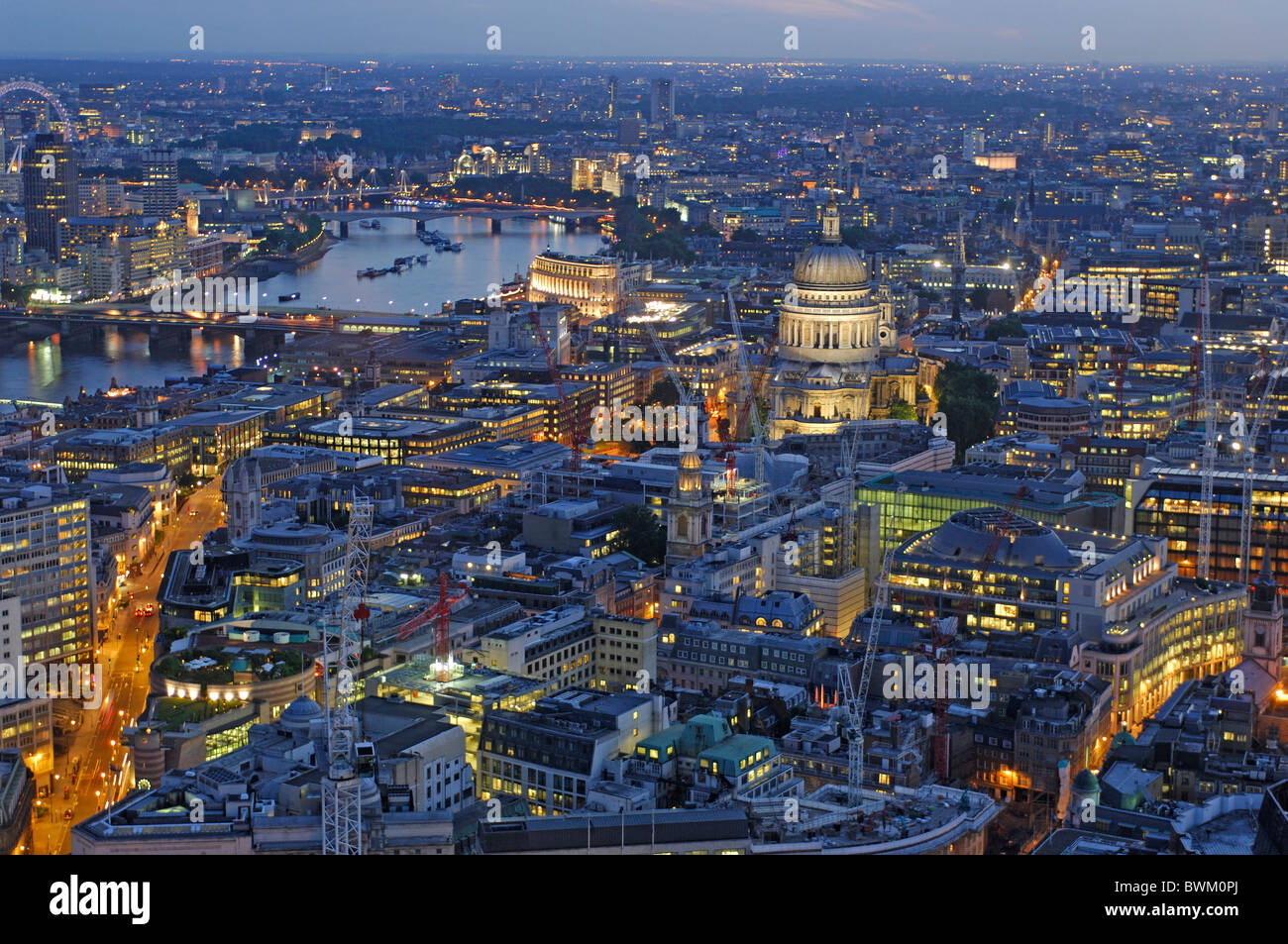 UK London St. Paul Cathedral View from Vertigo 42 City Great Britain Europe England evening dusk at night - Stock Image
