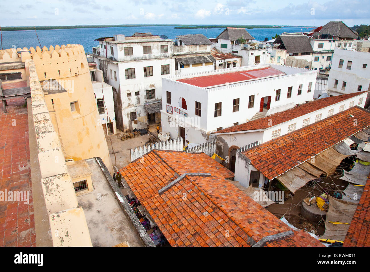 Lamu Fort or Fumo Madi ibn Abi Bakr, overlooking market and town, Lamu Island, Kenya Stock Photo