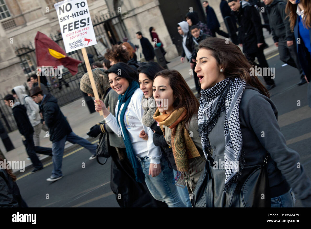student protestors against tuition fees in london - Stock Image
