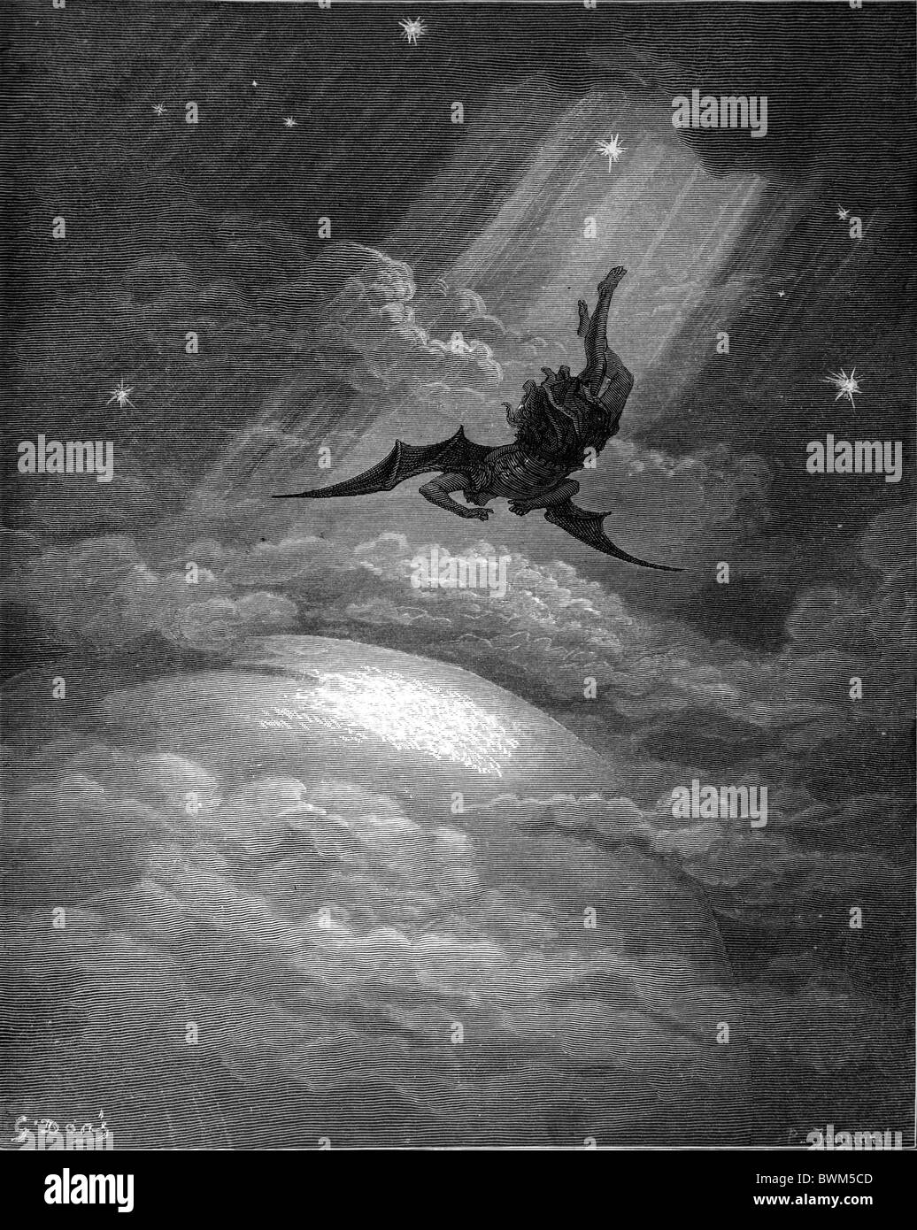 Gustave Doré; Black and White Engraving; Satan Approaching the Confines of the Earth from John Milton's - Stock Image