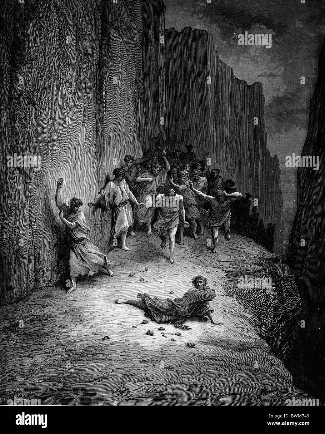 Gustave Doré; Black and White Engraving; The Martyrdom of Saint Stephen, first Christian martyr - Stock Image